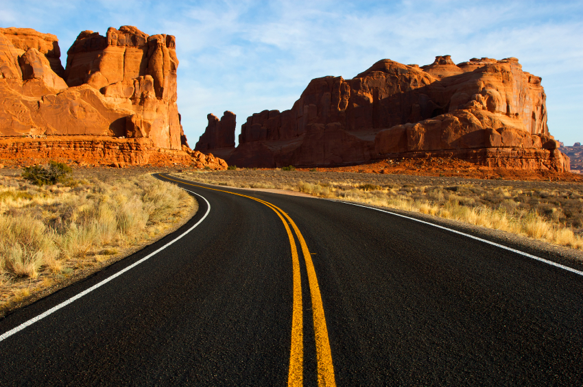 A desert road in Arches National Park, Moab Utah.