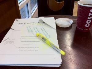Coffee and manuscript